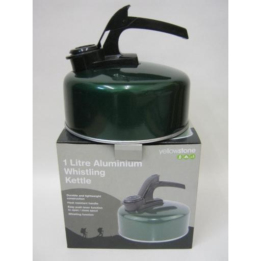 New Yellowstone Aluminium Camping Stove Whistling Kettle Gas Hob 1Litre Green