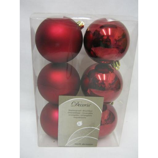 New Kaemingk Christmas Tree Decoration Baubles Shatterproof Pk6 80mm Oxblood