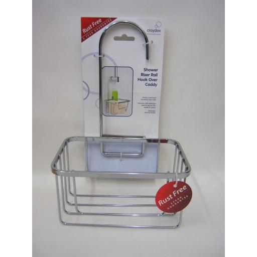 New Croydex Shower Bathroom Tidy Hook Caddy Soap Organiser Chrome Wire QM260441