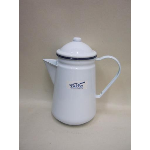 New Falcon Enamel 13cm 1.25ltr Coffee Pot Camping White With Blue Trim