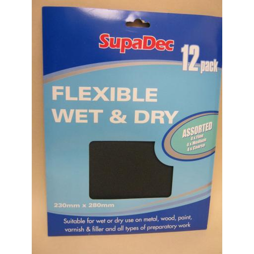 New SupaDec 230mm x 280mm Flexible Wet And Dry Sandpaper Assorted Pk12