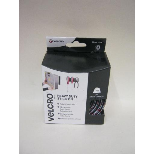 New Velcro Heavy Duty Stick On Tape 50mm x 1m Black 60241