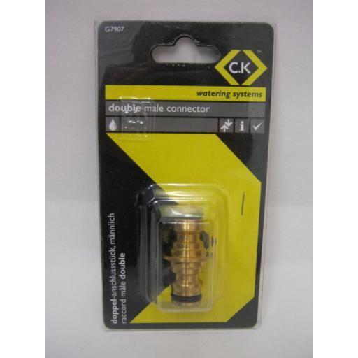New CK Watering Systems Double Male Connector Brass G7907