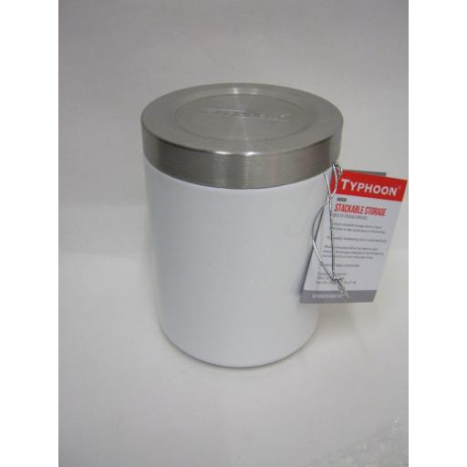 New Typhoon Hudson Stackable Coffee Storage Cannister Tin White 13CM 1400.107