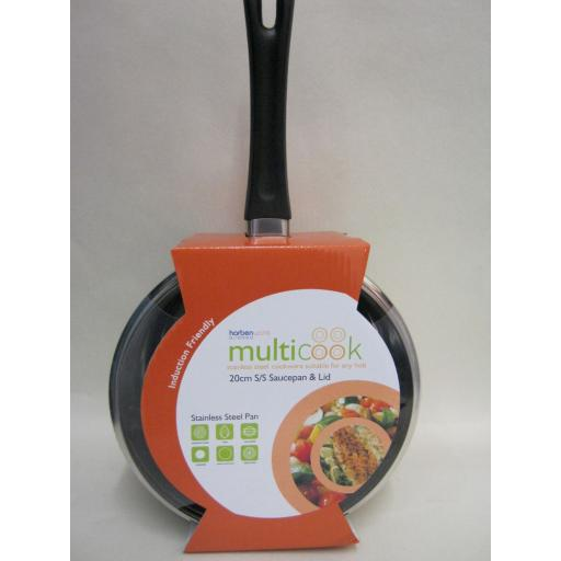 New Multi Cook Induction Stainless Steel Sauce Pan And Glass Lid 20cm 5526020GL