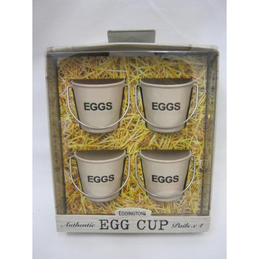 New Eddingtons Bucket Style Enamel Boiled Egg Cup Cups Set Four 4 Cream 83012