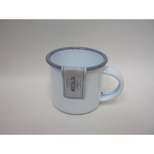 New Living Nostalgia White With Grey Trim Enamel Mug Beaker Mini Cup 5cm