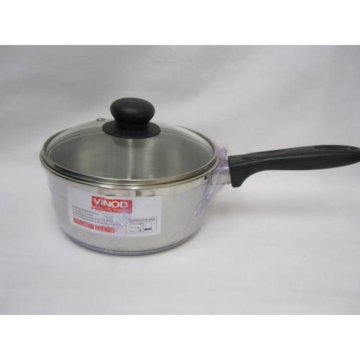 New Vinod Induction Stainless Steel Sauce Pan And Glass Lid 18cm 5526018GL