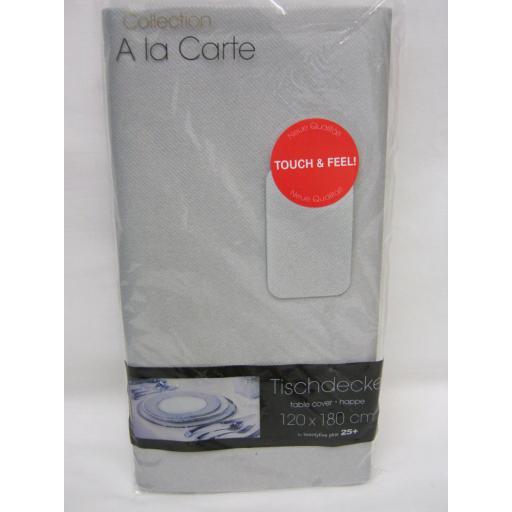 New A La Carte Cloth Like Airlaid Table Cover Oblong 120cm x 180cm Silver