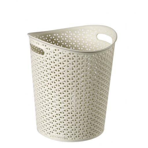 New Curver My Style Handled Dustbin Waste Paper Bin Plastic Cream 13Ltr