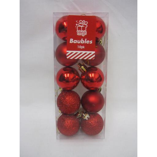 New Christmas Tree Decoration Mini Baubles Shatterproof Pk 10 x 40mm Red