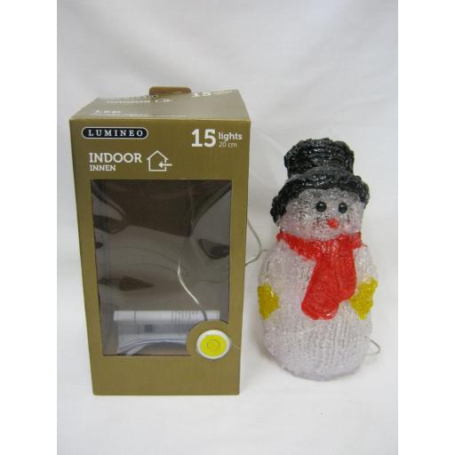 New Lumineo LED Indoor Battery Acrylic Snowman Cool White Lights 20cm 340631