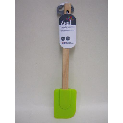 New Zeal Silicone Spatula Bowl Scraper Heat Resistant Wood Handle Lime J212