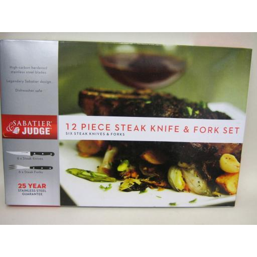 New Judge Sabatier Steak Knives & Forks 12 Piece Set Knife Fork Stainless Steel