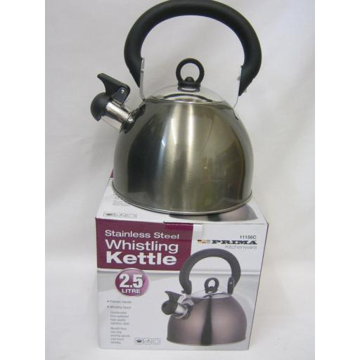 New Prima Camping Stove Whistling Kettle Gas Electric Hob 2.5Litre Grey 11126C