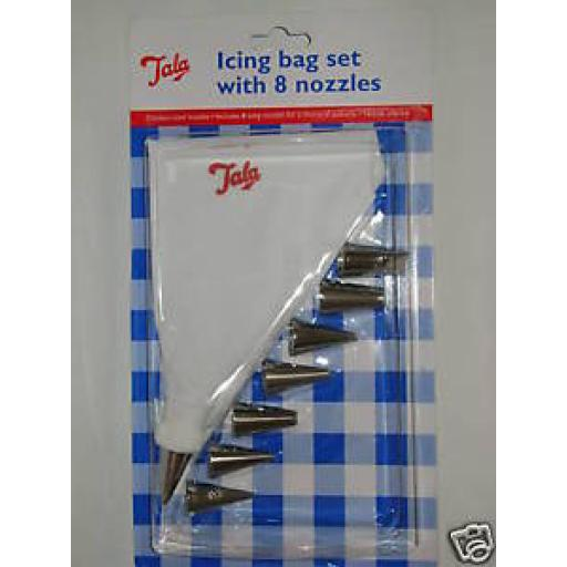 New Tala Icing Cloth Bag Set Stainless Steel 8 Nozzles 9924