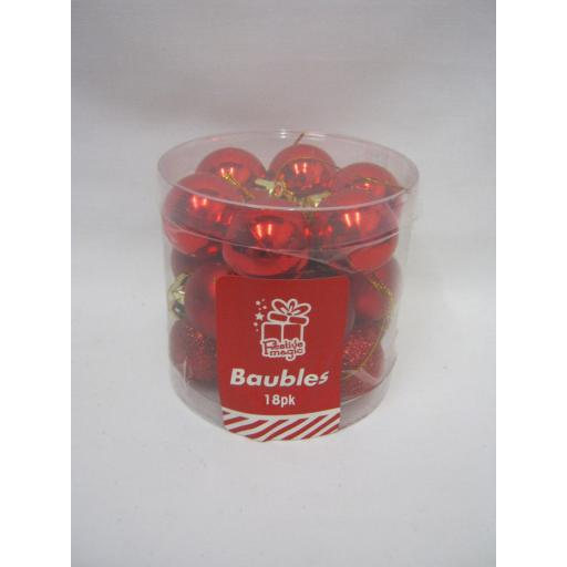 New Christmas Tree Decoration Mini Baubles Shatterproof Pk 18 x 25mm Red