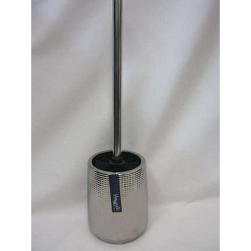 New Blue Canyon Toilet Loo Brush Holder Shiny Metalic Silver Ceramic BA13805