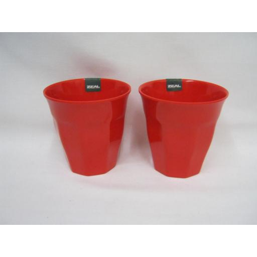 New Melamine Travel Camping Americana Beaker Small Cup 200ml Red G218 PK2