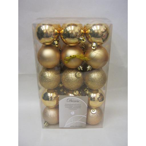 New Kaemingk Christmas Tree Decoration Baubles Shatterproof 60mm Pk 30 Gold