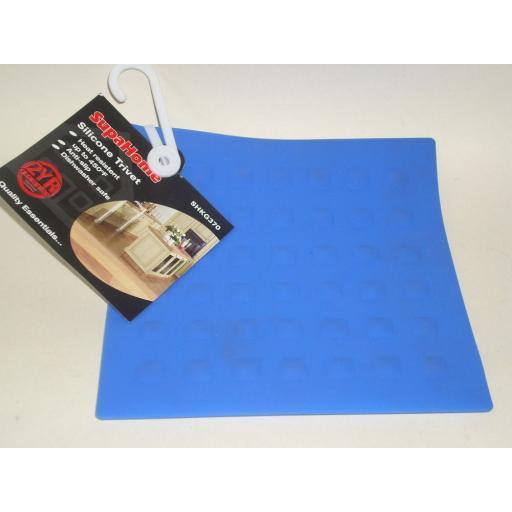 New Heat Resistant Silicone Pot Pan Trivet Square Blue