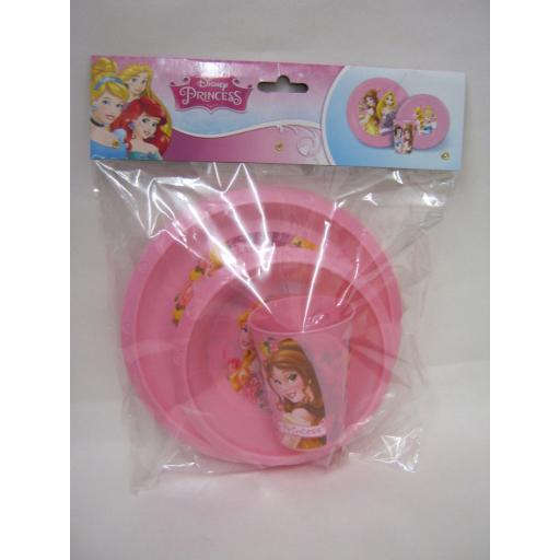 New Boyz Toys Disney Princess Kids Childrens Plastic 3 Piece Dinner Set 59210