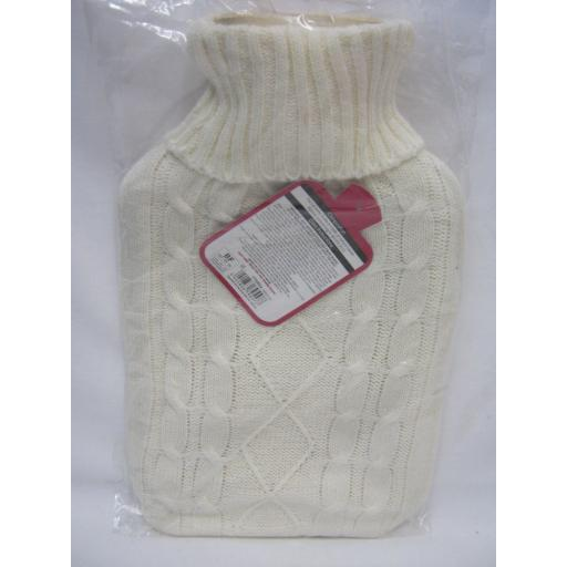 New Covered Hot Water 2Ltr Bottle Knitted Cable knit Jumper Design Cream