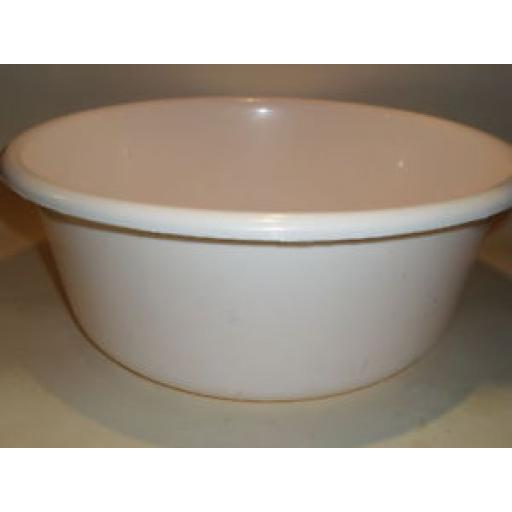 "New Lucy White Round Plastic Washing Up Bowl 35cm Large 14"" Slight Seconds"