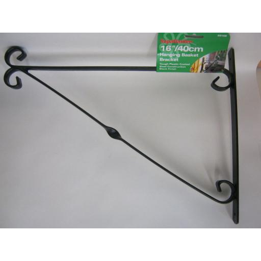 "New Supa Garden Hanging Basket Bracket 16"" 40cm Black SB16B"