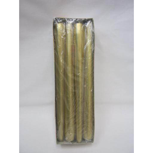 New Bolsius Gold Wax Tapered Candles Burn Time 7.5H Pk12