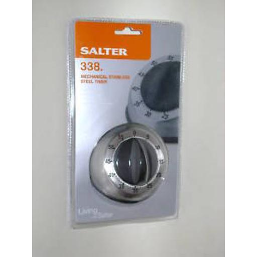 New Salter Mechanical Stainless Steel Kitchen Timer Wind Up 338