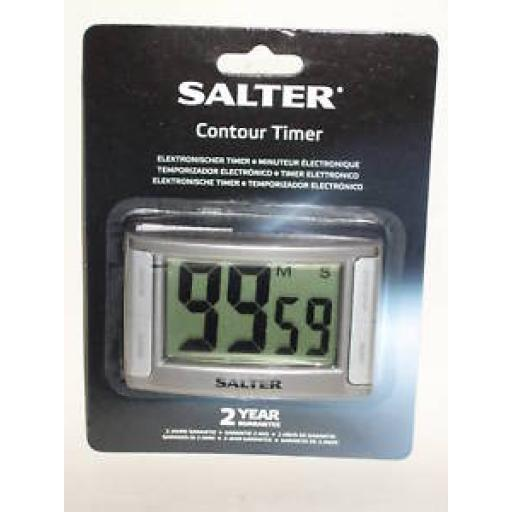 New Salter Digital Electronic Contour Timer Silver 396