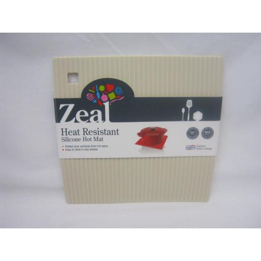 CKS Zeal Heat Resistant Silicone Kitchen Hot Mat Square Trivet J238 Cream 18cm