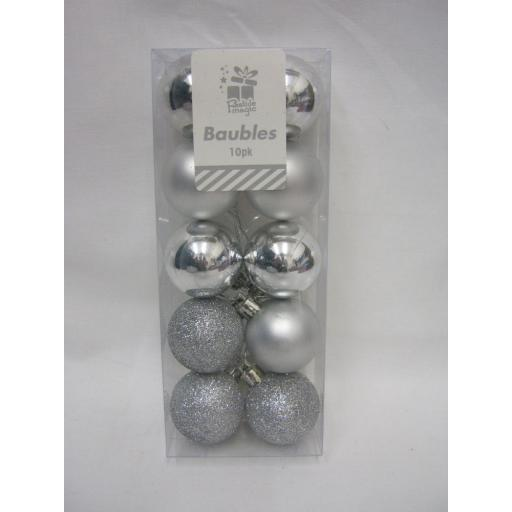 New Christmas Tree Decoration Mini Baubles Shatterproof Pk 10 x 40mm Silver