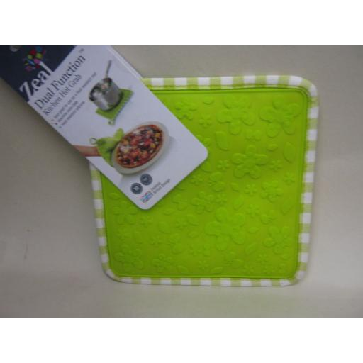 New CKS Zeal Dual Function Silicone Kitchen Hot Grab Mat Square V107 Lime Green