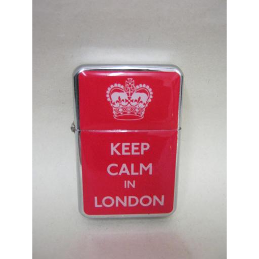New Elgate Windproof Lighter Refillable Petrol Keep Calm In London Red
