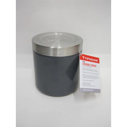 New Typhoon Hudson Stackable Storage Cannister Tin Grey 11CM 1400.102