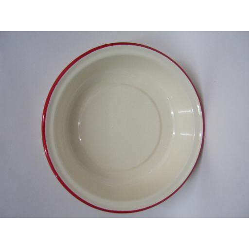 New Victor Cream Enamel Round Pie Baking Dish Tin With Red Trim 20cm EN355R