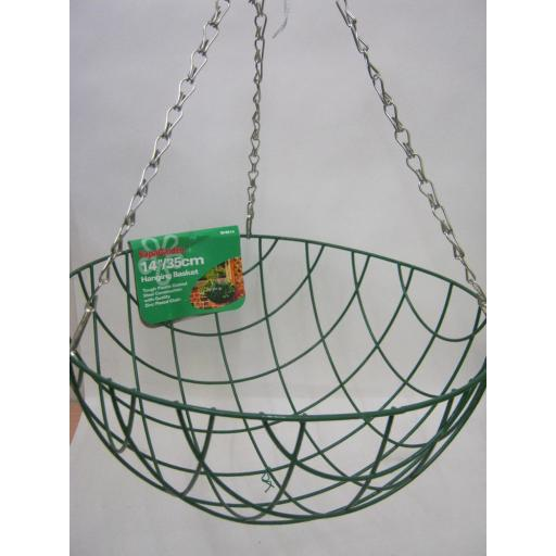 """New Supagarden Wire Green Hanging Basket With Chain 14"""" 35cm SHB14"""