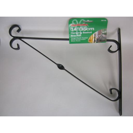 "New Supa Garden Hanging Basket Bracket 14"" 35cm Black SB14B"