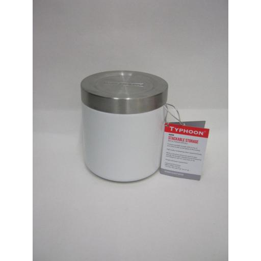 New Typhoon Hudson Stackable Storage Cannister Tin White 11CM 1400.106