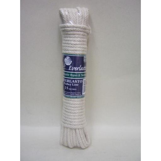 New Everlasto Washing Cotton Clothes Pulley Line Rope 15 Metres