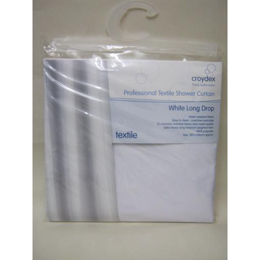 New Croydex Bath Or Shower Textile Curtain White Long Drop 180cm x 200cm GP85115