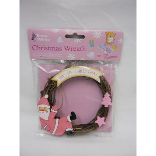 New PMS Snow White Baby Christmas Wreath My 1st Christmas Pink 514023