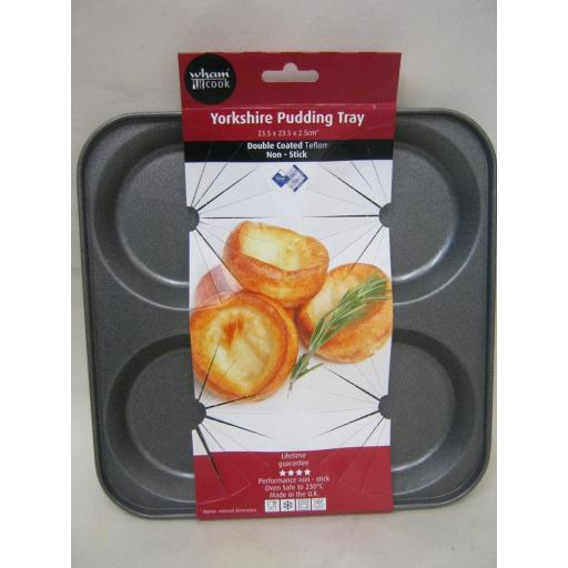 New Wham Cook Non Stick Traditional 4 Hole Yorkshire Pudding Tray 50350