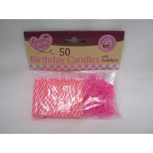 New Queen Of Cakes Birthday Candles And Holders Pk 50 QC1089-24 Pink