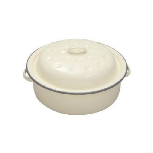 New Falcon Enamel Round Roast Roasting Dish Casserole Roaster Cream 20CM