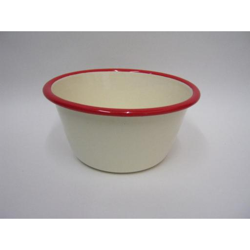 "New Victor Cream Enamel Pudding Basin Bowl Red Trim 12cm 4 3/4"" EN410R"