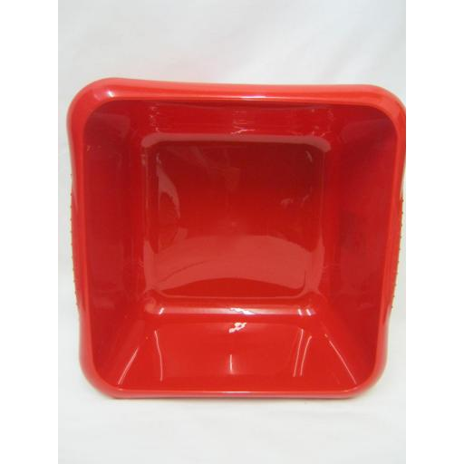 "New TML Square Plastic Washing Up Bowl 7 Ltr 29cm 11 1/2"" Red"