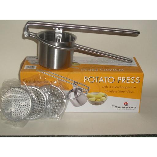 New Grunwerg Stainless Steel Food Potato Press Masher Ricer PT-5373
